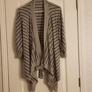 Forever 21 grey striped cardigan wrap medium